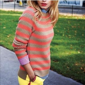 BODEN Coral Tan Striped Dimple Knit Sweater